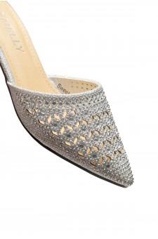 HerStyle SWEET TALK- Pointed Toe Stuck Heel jeweled embellishment vamp slipper (Silver)