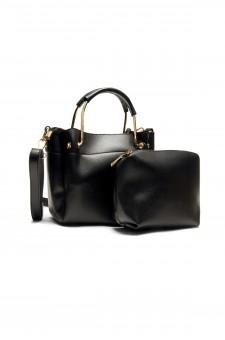 SYL-180- Mini top handle handbag with matching bag (Black)