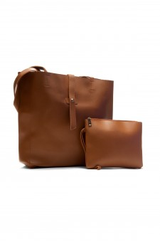 SYL-3268- Stylish Fashion Tote With Matching Bag (Brown)