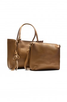 SYL-6096- Large Tassel Fashion Tote With Matching Bag (Khaki)