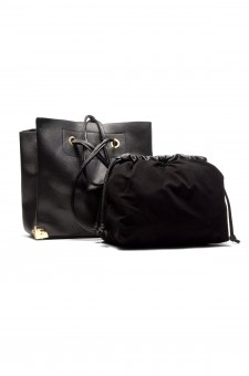 SZ11-41409- Large  Metalic Faux Leather Tote. (Black)