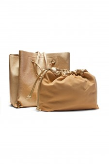 SZ11-41409- Large  Metalic Faux Leather Tote. (Gold)