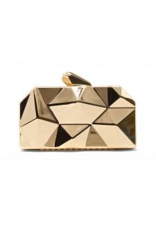 SZ15-LH3-295-Women's Lattice Pattern Metal Handbag Clutch Purse Chain Mini Shoulder Bag  (Gold)