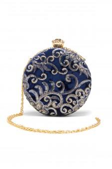 SZY-197- Embellished Circle Shape Evening Bag (Blue)