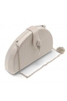 SZY-E1090-Women's Elegant Semi Circle Box Clutch Bag (Beige)
