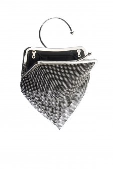 SZY-E8304-Trendy circle handle sparkled with mesh rhinestone clutch (Black)
