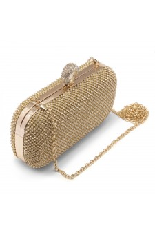 SZY-E8309- Women's Rhinestone Overlay Fully Sequined Mesh Evening Bag (Gold)