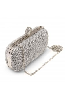 SZY-E8309- Women's Rhinestone Overlay Fully Sequined Mesh Evening Bag (Silver)