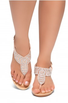 HerStyle Take Over- Rhinestone Details Vamp, Ankle Strap Open Toe Open Back Wedge Sandals (Pink)