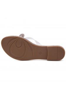 HerStyle Talluto-Rhinestone Details, Open Toe, Flat Sandals (1121Silver)