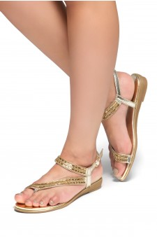 HerStyle Talluto-Rhinestone Details, Open Toe, Flat Sandals (Gold)