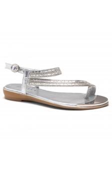 HerStyle Talluto-Rhinestone Details, Open Toe, Flat Sandals (Silver)