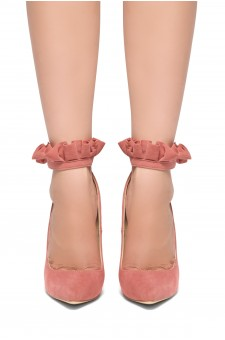 HerStyle Tanya-Stiletto heel, pointed toe, ruffle details, Ankle strap (Blush)