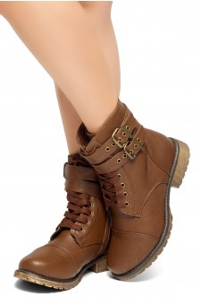 HerStyle Teen Sprit-Women's Military Ankle Lace Up Double Buckled Combat Booties (Brown)