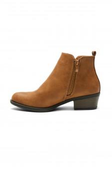Herstyle Temptng Women's Basel Booties, Low stack block heel, Closed toe, Comfortable Walking Slip on Boots