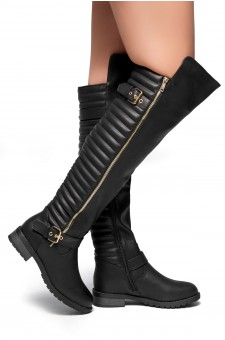 HerStyle Tense-Double Buckle with zipper detail Over-The-Knee Riding Boots (Black)