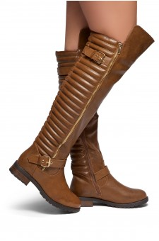 HerStyle Tense-Double Buckle with zipper detail Over-The-Knee Riding Boots (Tan)