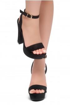 HerStyle THALIA- Ankle Strap Platform Chunky Heel (Black)