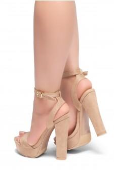 HerStyle THALIA- Ankle Strap Platform Chunky Heel (Blush)