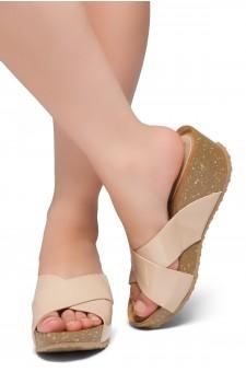 HerStyle Timmy -Crisscross Wide Straps Vamp Open Toe Slide Wedge Sandals (Blush PT)