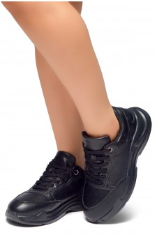 HerStyle Tricks-PU Lace up Rigged Sneaker (Black)