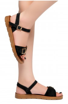 HerStyle Trinity- Ankle Strap Flat Platform Sandal (Black)