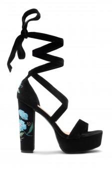 HerStyle Tryceee Blue Floral Lace up Platform Heel In Black Faux Suede (BLK/BLU)