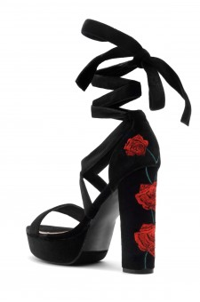 HerStyle Tryceee Blue Floral Lace up Platform Heel In Black Faux Suede (BLK/RED)