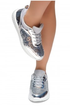 HerStyle TULULA-Sparkling Sequins Sneaker With Lace Upper (Silver/Silver)
