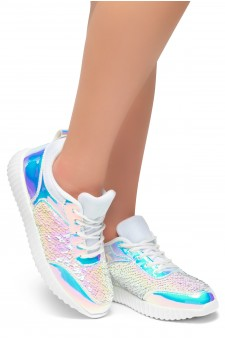 HerStyle TULULA-Sparkling Sequins Sneaker With Lace Upper (White/White)