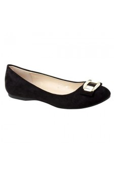 Women's Black Manmade Tuscan Pump Flat with Sparkling Toe Buckle