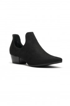 Women's Ulyana Suede Side Cutout Pointy Toe Cowgirl Booties - Black