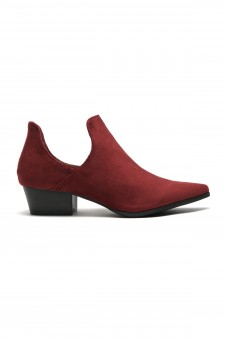 Women's Ulyana Suede Side Cutout Pointy Toe Cowgirl Booties - Wine