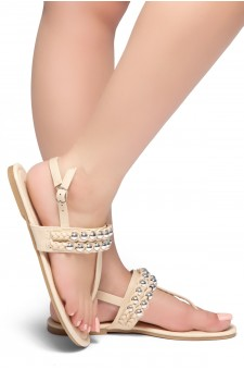 HerStyle Under Sun- T-Strap Thong Sandals with double-layer-silver-bead Adornment (Beige)