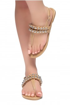 HerStyle Under Sun- T-Strap Thong Sandals with double-layer-silver-bead Adornment (Tan)
