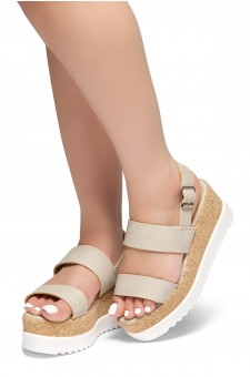 HerStyle Upgrade U- Open Toe Ankle Strap Platform Wedge (Beige)