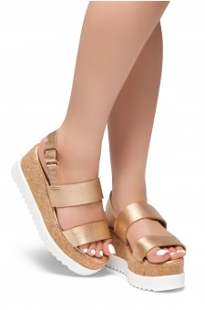 HerStyle Upgrade U- Open Toe Ankle Strap Platform Wedge (RoseGold)