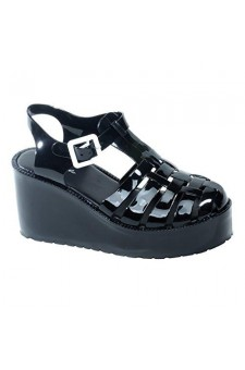 Women's Black Manmade Vambelle Platform Jellies with Contrast Buckle