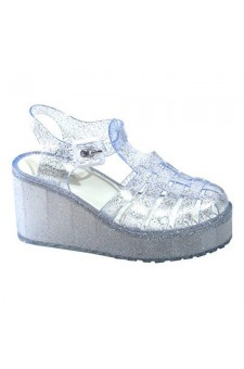 Women's Clear Silver Manmade Vambelle Platform Jellies with Contrast Buckle