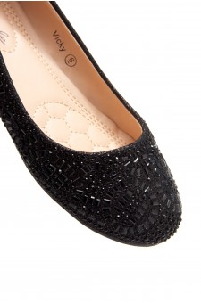 HerStyle Vicky-Round toe, jeweled embellishments (Black)