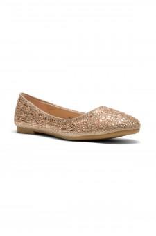 HerStyle Vicky-Round toe, jeweled embellishments (Rose Gold)