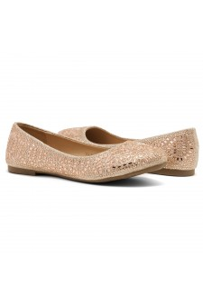 HerStyle Vicky-Round toe, jeweled embellishments (Rose Gold)