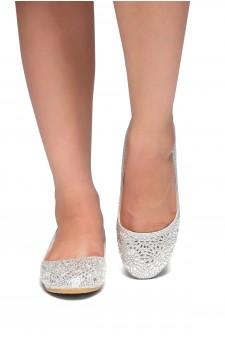 HerStyle Vicky-Round toe, jeweled embellishments (Silver)
