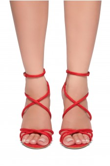 HerStyle Villarosa-Stiletto heel, gladiator construction, ankle strap (Red)