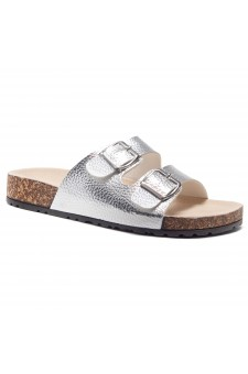 HerStyle Viviana- Double Buckled Cork Foot Bed Sandal (Silver)