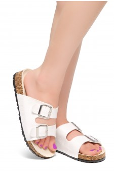 HerStyle Viviana- Double Buckled Cork Foot Bed Sandal (White)
