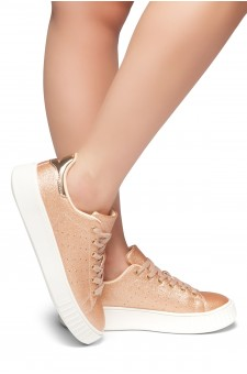 HerStyle Walk With Me- Flatform, Front Lace Up,Chic Style Sneakers (RoseGold)