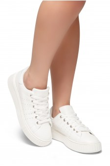HerStyle Walk With Me- Flatform, Front Lace Up,Chic Style Sneakers (White)