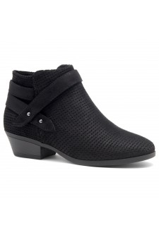 Shoe Land Zarella- Low Stacked Heel Almond Toe Casual Ankle Booties (Black)