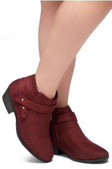 Shoe Land Zarella- Low Stacked Heel Almond Toe Casual Ankle Booties (Burgundy)